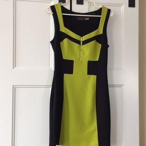 Guess Black/Lime Green Dress - Size 8